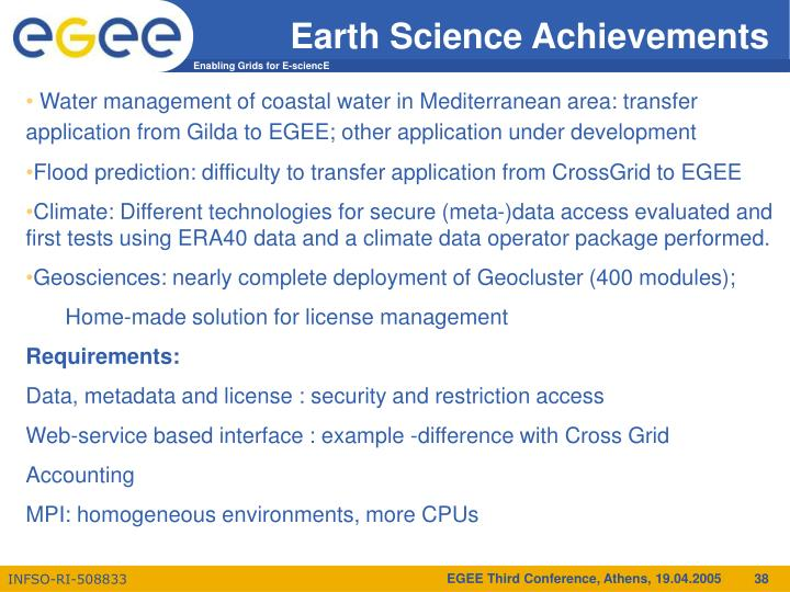 Earth Science Achievements