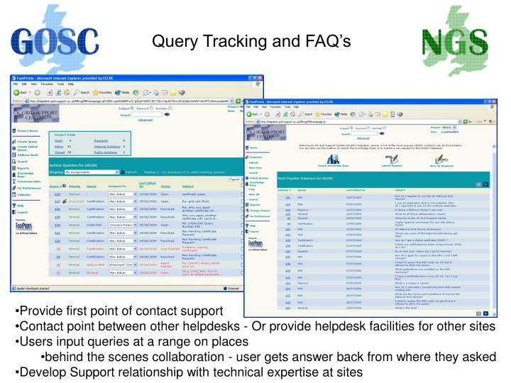 Query Tracking and FAQ's