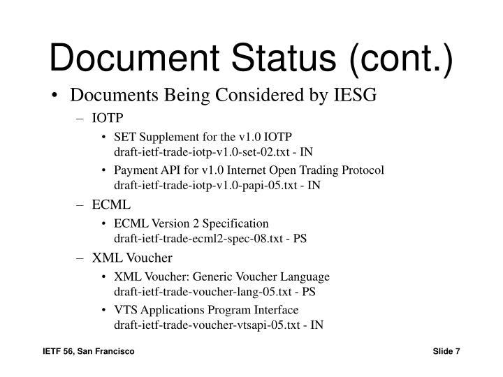 Document Status (cont.)