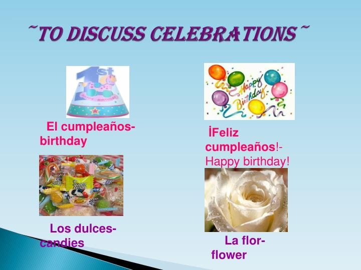 to discuss celebrations n.