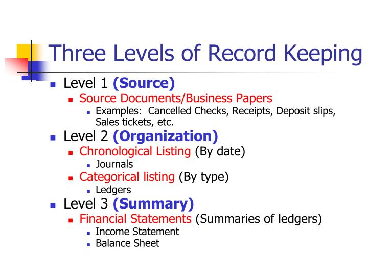 Three levels of record keeping