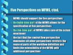 five perspectives on wfms ctnd