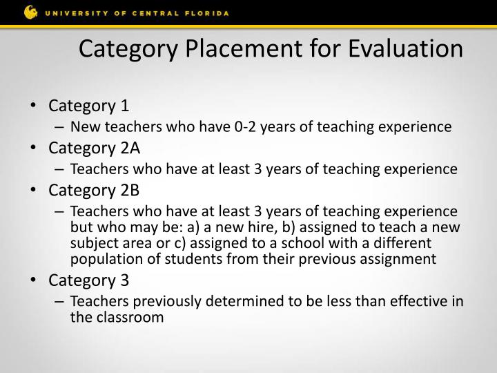 Category Placement for Evaluation