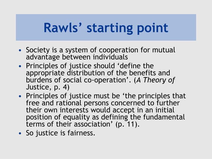 Rawls starting point