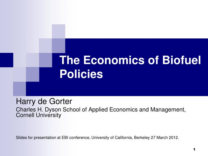 the economics of biofuel policies n.