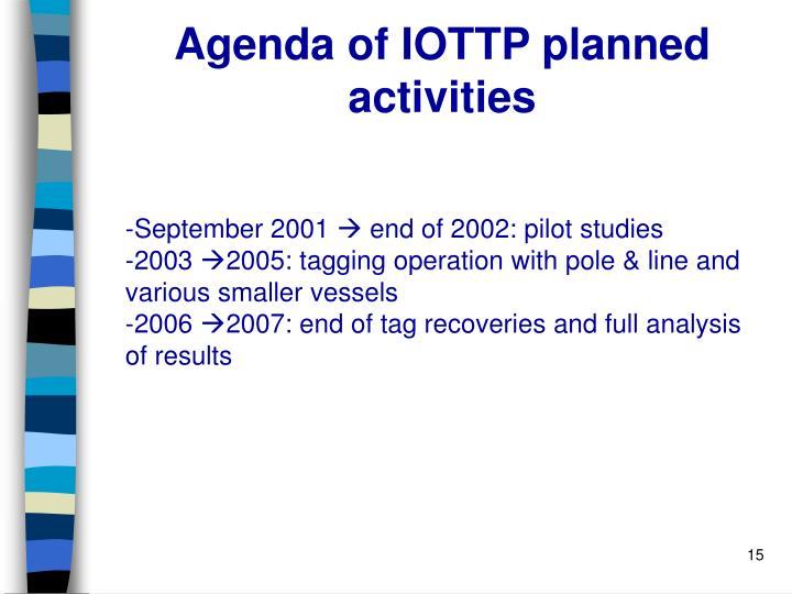 Agenda of IOTTP planned activities