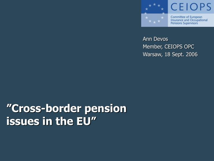 cross border pension issues in the eu n.