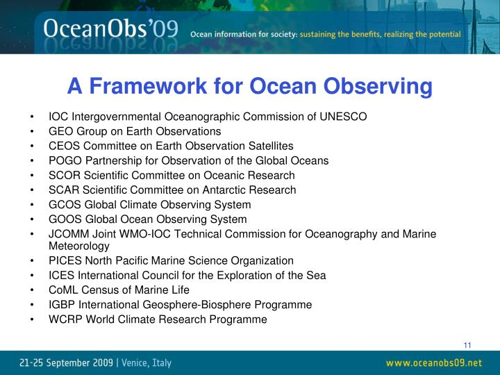A Framework for Ocean Observing