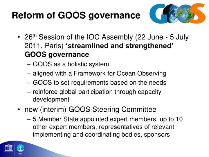 Reform of GOOS governance