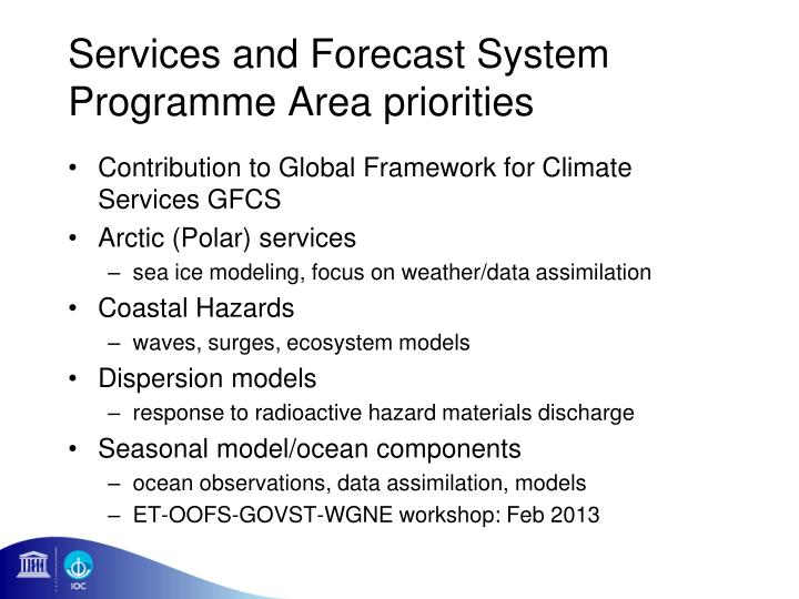 Services and Forecast System Programme Area priorities