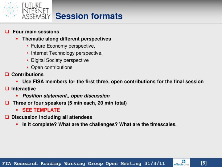 Session formats