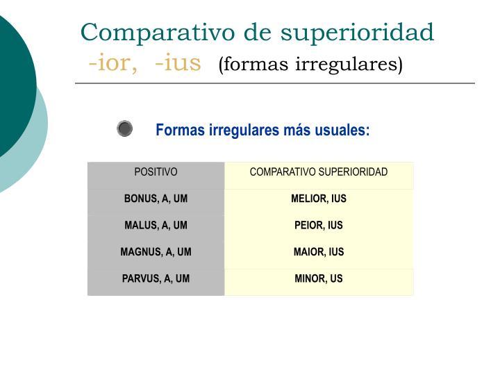 Comparativo de superioridad ior ius formas irregulares