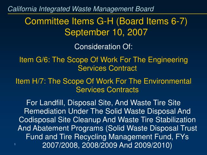 Committee items g h board items 6 7 september 10 2007