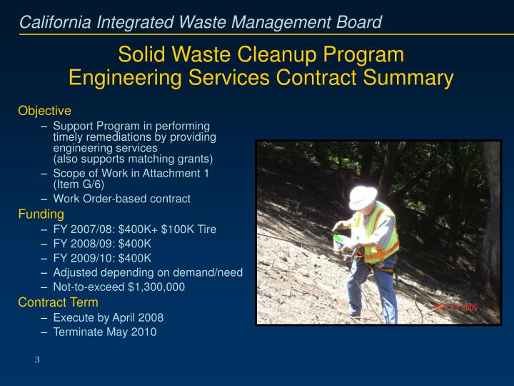 Solid waste cleanup program engineering services contract summary