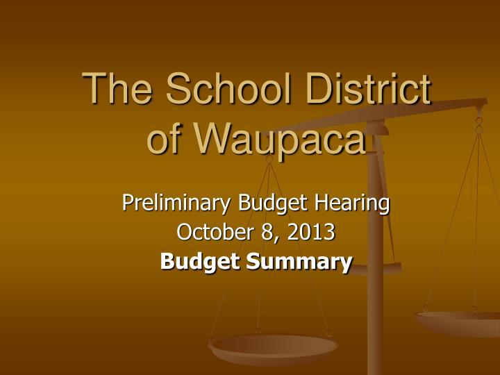 the school district of waupaca n.