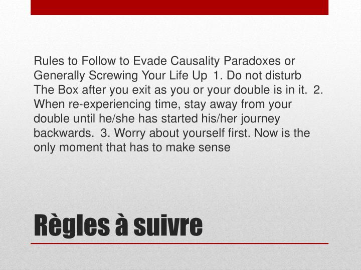 Rules to Follow to Evade Causality Paradoxes or Generally Screwing Your Life Up1. Do not disturb The Box after you exit as you or your double is in it.2. When re-experiencing time, stay away from your double until he/she has started his/her journey backwards.3. Worry about yourself first. Now is the only moment that has to make sense
