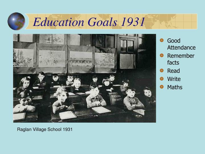 Education goals 1931