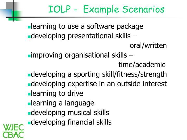 Iolp example scenarios