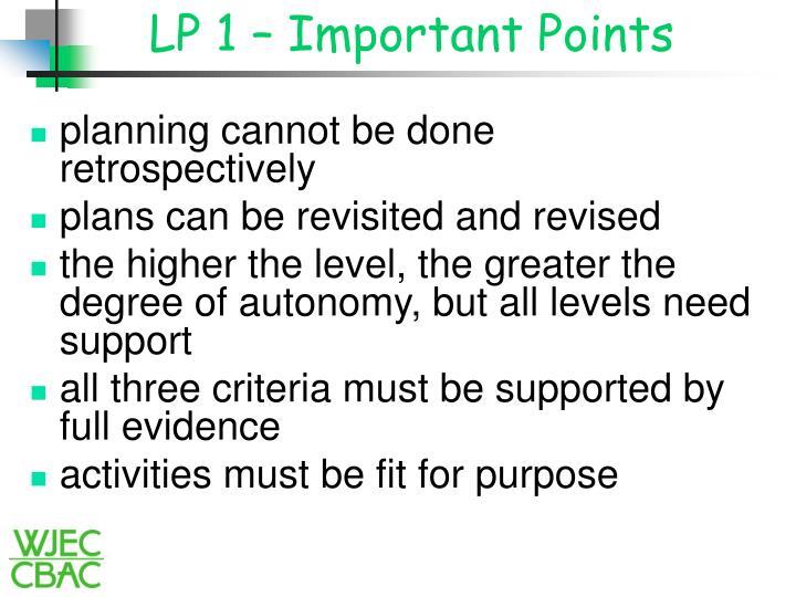 LP 1 – Important Points