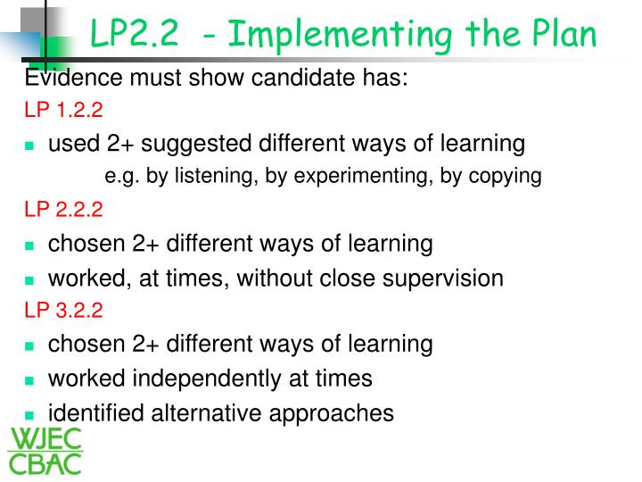 LP2.2  - Implementing the Plan