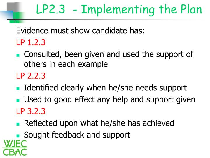 LP2.3  - Implementing the Plan