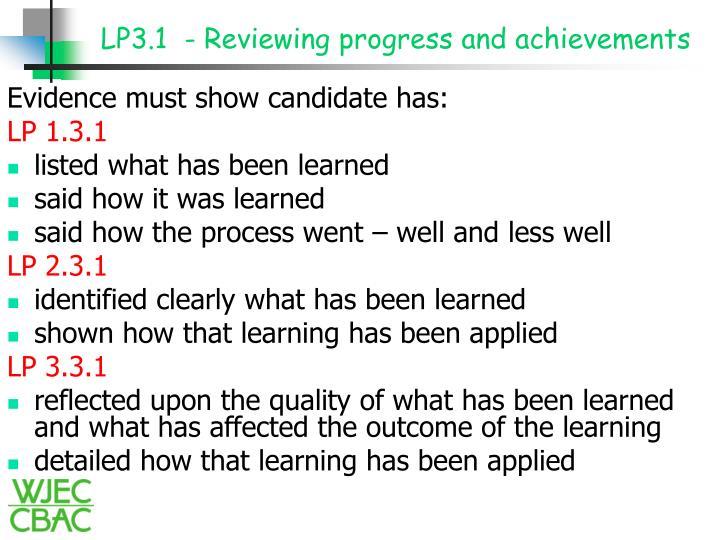 LP3.1  - Reviewing progress and achievements
