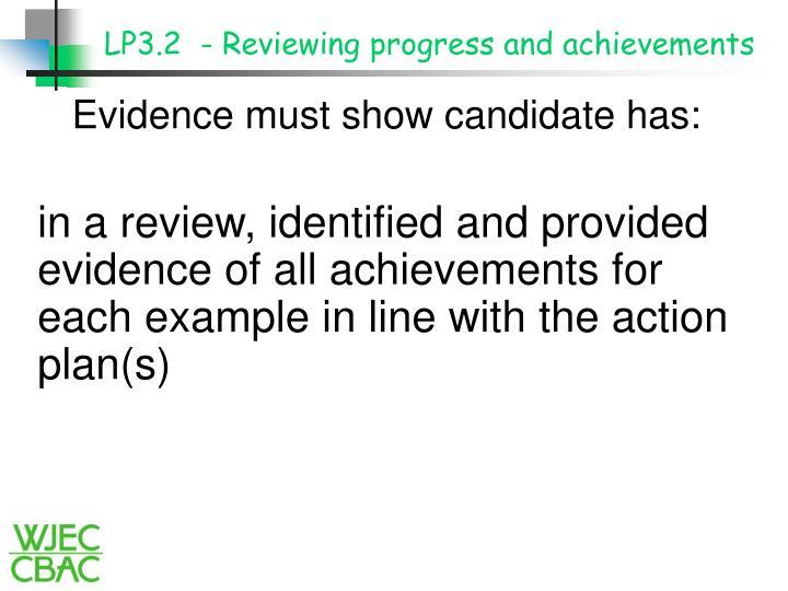 LP3.2  - Reviewing progress and achievements