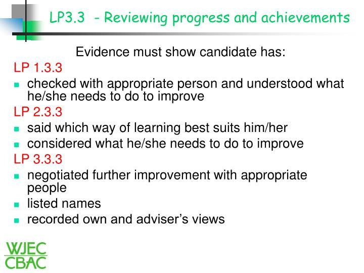 LP3.3  - Reviewing progress and achievements