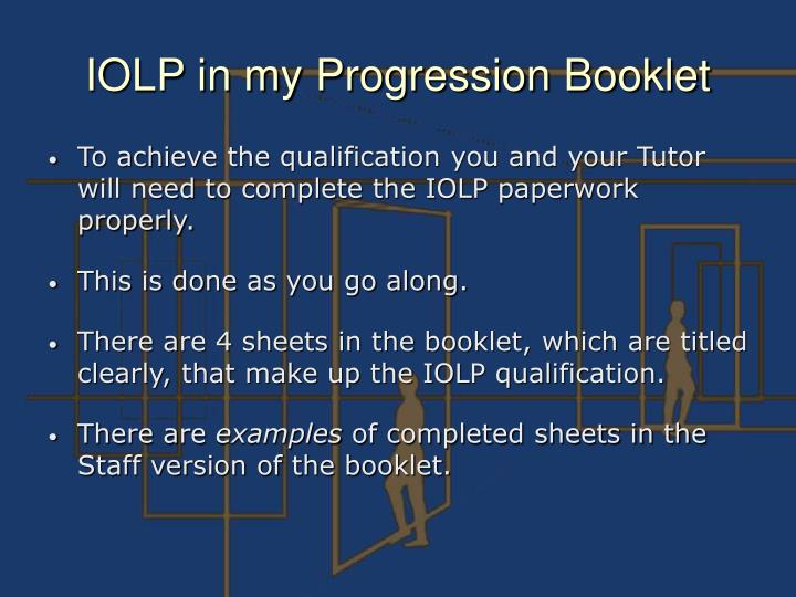 IOLP in my Progression Booklet