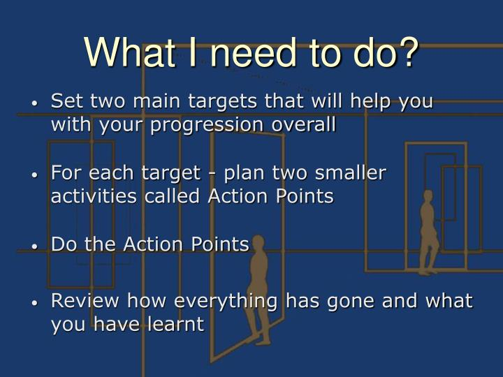 Set two main targets that will help you with your progression overall
