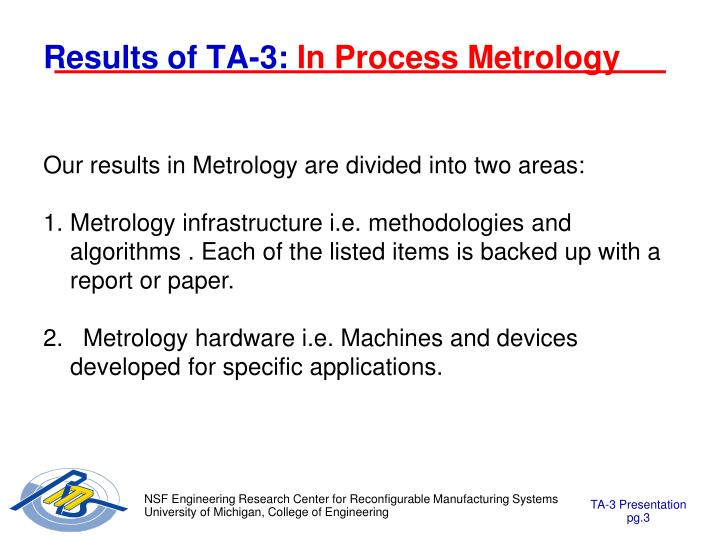 Results of ta 3 in process metrology
