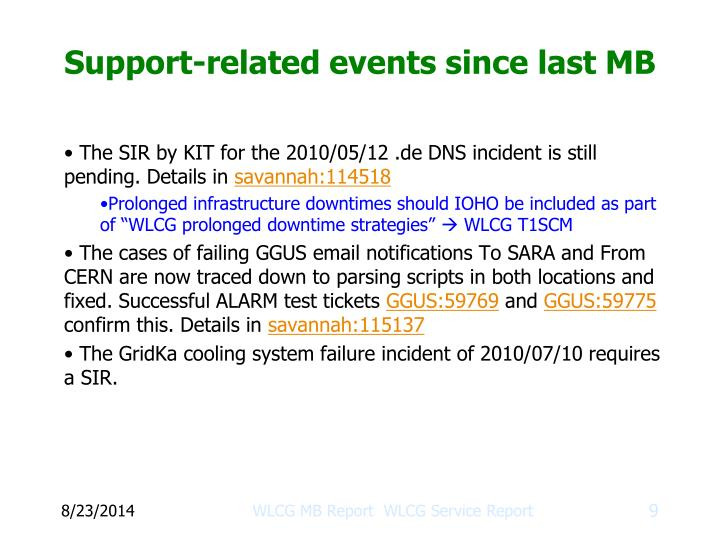 Support-related events since last MB