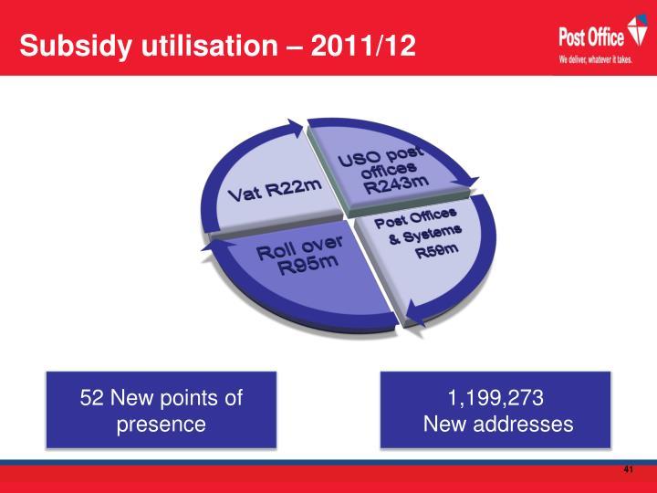 Subsidy utilisation – 2011/12