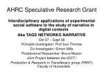 ahrc speculative research grant