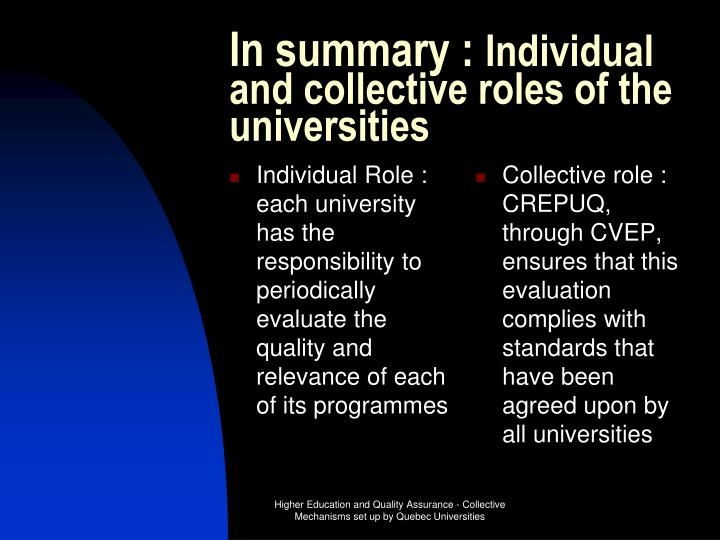Individual Role : each university has the responsibility to periodically evaluate the quality and relevance of each of its programmes