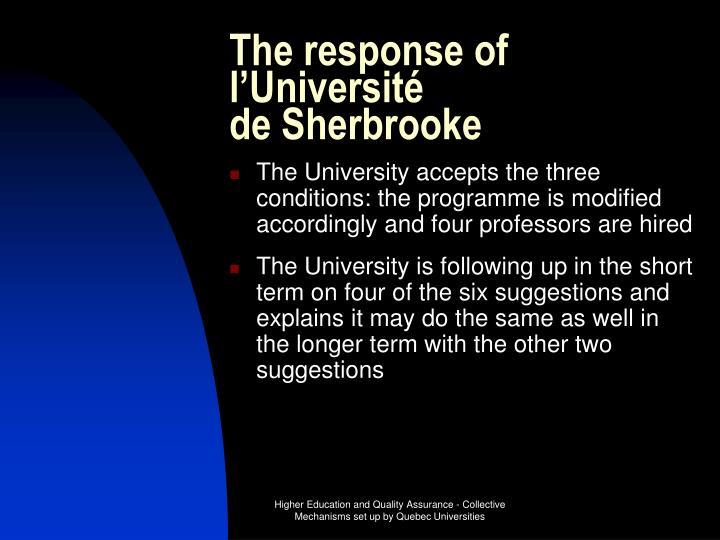 The response of l'Université