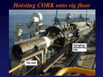 hoisting cork onto rig floor