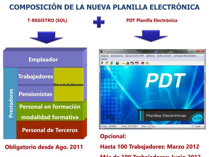 COMPOSICIÓN DE LA NUEVA PLANILLA ELECTRÓNICA