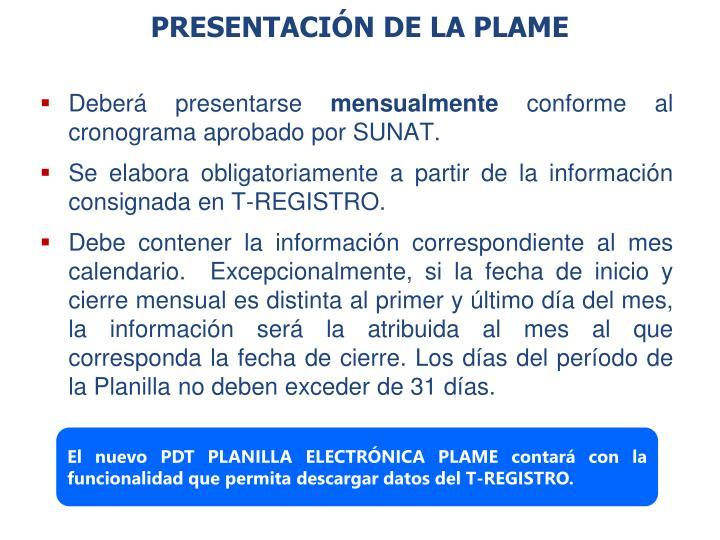 PRESENTACIÓN DE LA PLAME