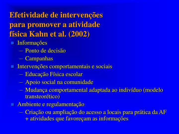 Efetividade de intervenções para promover a atividade física