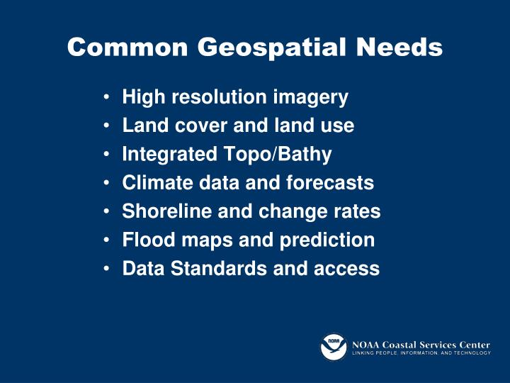 Common geospatial needs