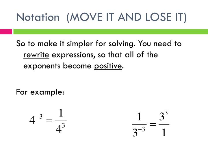 Notation  (MOVE IT AND LOSE IT)