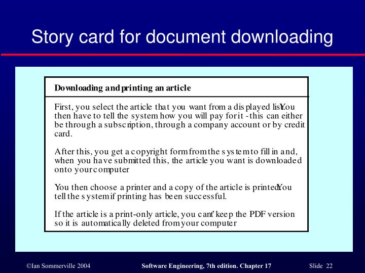 Story card for document downloading