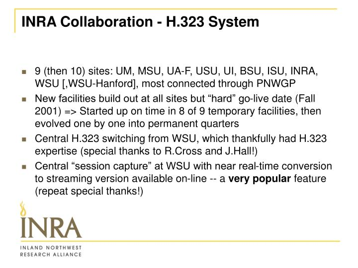 INRA Collaboration - H.323 System