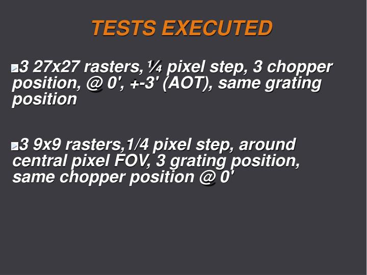 TESTS EXECUTED