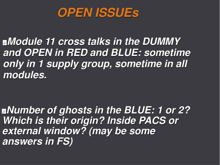 OPEN ISSUEs