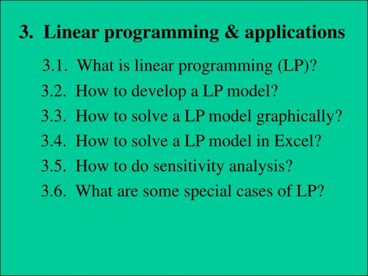 3.  Linear programming & applications