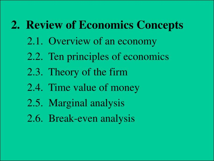 2.  Review of Economics Concepts