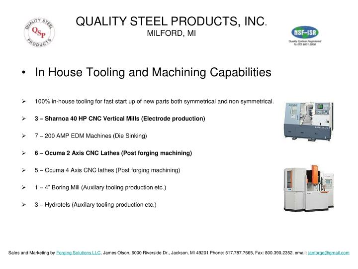 QUALITY STEEL PRODUCTS, INC