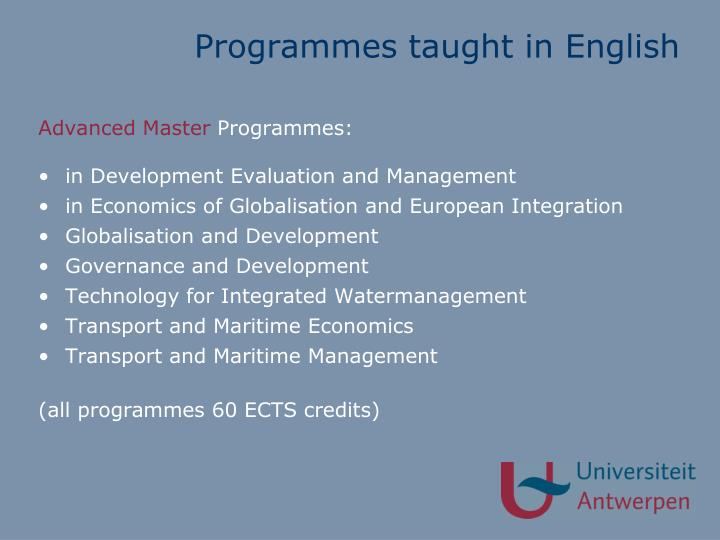 Programmes taught in English